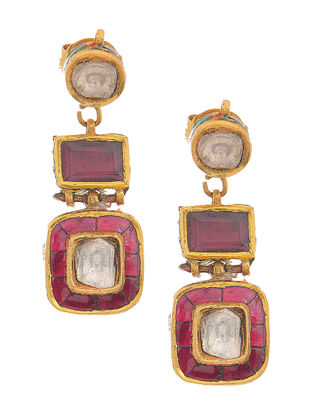 Red-Green Enameled Polki Gold Earrings with Ruby