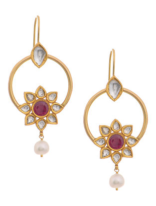 Blue Enameled Polki Gold Earrings with Ruby and Pearls