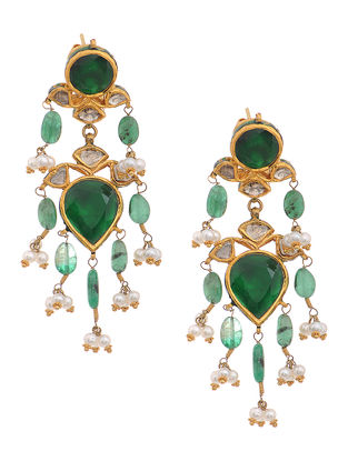 Green-Red Enameled Polki Gold Earrings with Emerald and Pearls