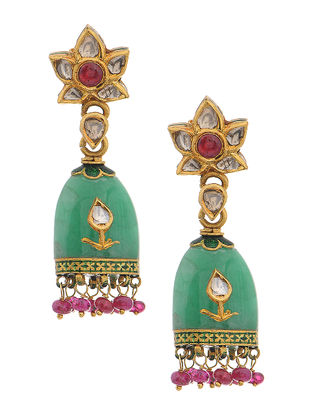 Green Enameled Polki Gold Earrings with Emerald and Ruby