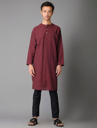 Maroon-Red Handloom Cotton Kurta