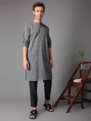 Grey Handloom Cotton Kurta