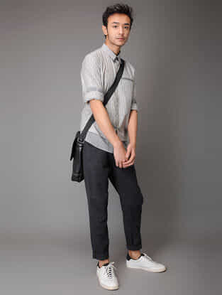 Black Elasticated Waist Handloom Cotton Pants