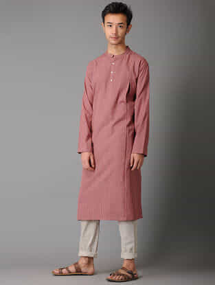 Pink Handloom Cotton Kurta