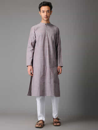 Grey-Pink Handloom Cotton Kurta