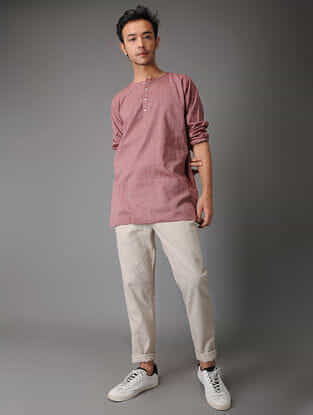 Pink Handloom Cotton Short Kurta