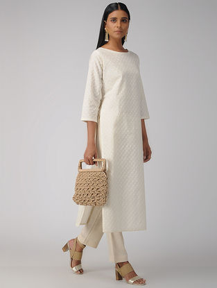 Ivory Cotton Schiffli Embroidered Kurta with Tassels