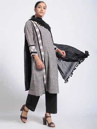 Black-Ivory Bagh-Printed Cotton Kurta with Pockets