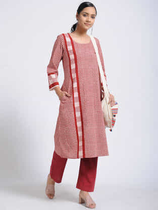 Madder-Ivory Bagh-Printed Cotton Kurta with Pockets