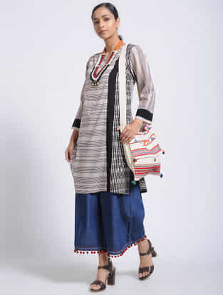 Ivory-Black Bagh-Printed Cotton Kurta with Pocket