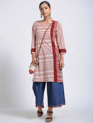 Ivory-Madder Bagh-Printed Cotton Kurta with Pocket