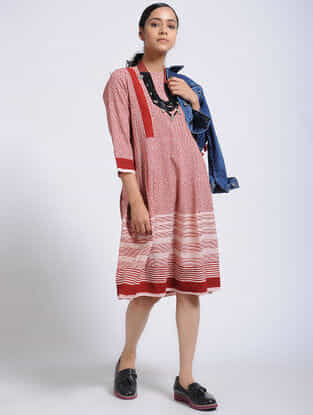 Madder-Ivory Bagh-Printed Cotton Dress