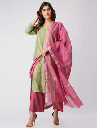 Pink Embroidered Chanderi Dupatta