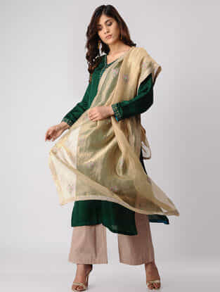 Beige Embroidered Tissue Dupatta