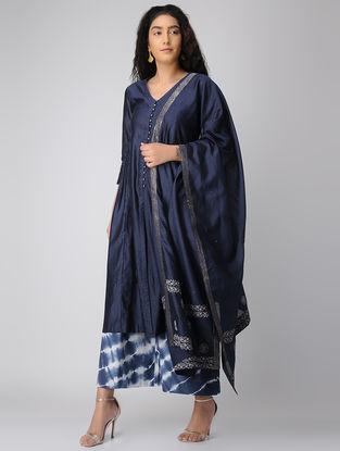 Blue Embroidered Chanderi Dupatta