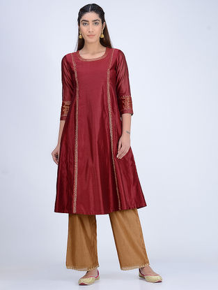 Maroon Embroidered Round Neck Chanderi Kurta