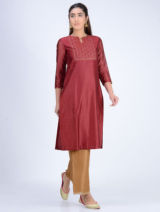 Maroon Chanderi Kurta with Embroidered Yoke