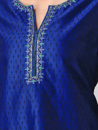 Blue Hand-embroidered Chanderi Kurta