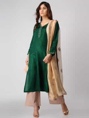 Green Hand-embroidered Linen-satin Kurta