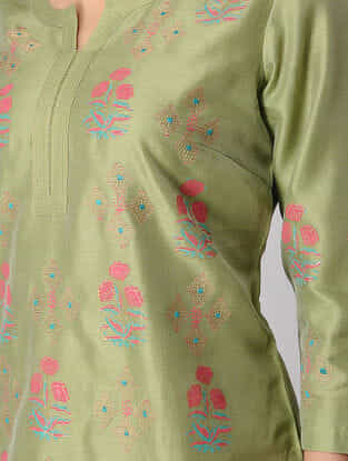 Green Block-printed Embroidered Chanderi Kurta
