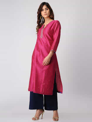 Fuchsia Hand-embroidered Chanderi Kurta