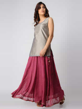 Plum Hand-embroidered Tie-up Waist Georgette Skirt