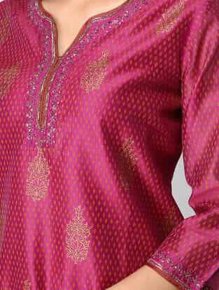 Plum Embroidered Chanderi Tunic