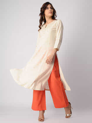 Ivory Embroidered Cotton Slub Kurta