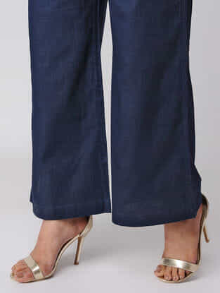 Navy Blue Cotton Palazzos