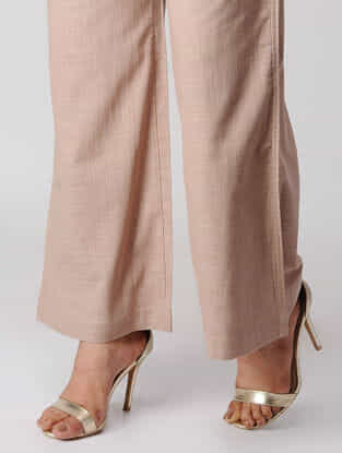 Beige Cotton Palazzos