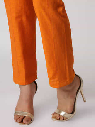 Orange Embroidered Tie-up Waist Cotton Pants