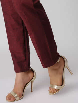 Burgundy Embroidered Tie-up Waist Cotton Pants