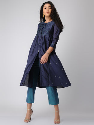 Blue Hand-embroidered Chanderi Kurta with Side Gathers
