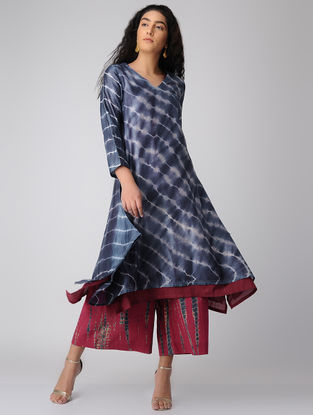 Blue-Pink Tie-Dye Chanderi Kurta and Slip with Asymmetrical Hem (Set of 2)