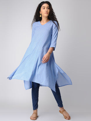 Blue Modal Silk Kurta with Asymmetrical Hem