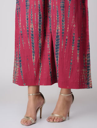 Pink Elasticated Waist Tie-Dye Cambric Palazzos