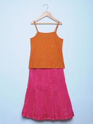 Orange Mangalgiri Cotton Spaghetti Top and Fuchsia Cotton Voile Crinkled Skirt with Mirror Work (Set of 2)