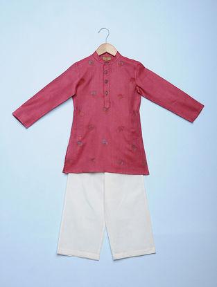 Pink Embroidered Tetron Cotton Kurta with White Aligarh Pyjama (Set of 2)