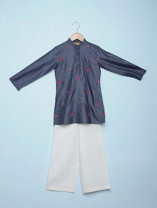 Blue Embroidered Tetron Cotton Kurta with White Aligarh Pyjama (Set of 2)