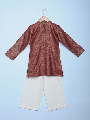 Maroon Block-printed Tetron Cotton Kurta with White Aligarh Pyjama (Set of 2)