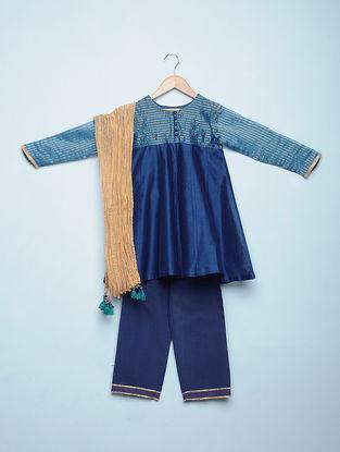 Blue Chanderi Anarkali Kurti with Mangalgiri Cotton Pants and Golden Tissue Dupatta (Set of 3)