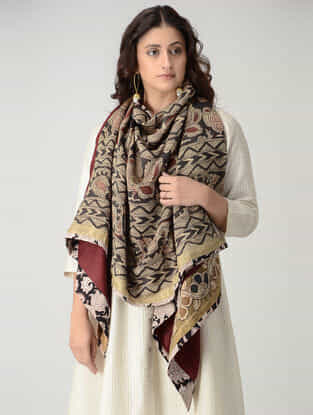 Maroon-Beige Hand-painted Kalamkari Woolen Reversible Shawl with Zari