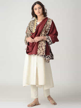 Beige-Maroon Hand-painted Kalamkari Woolen Reversible Shawl with Zari