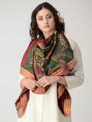 Green-Maroon Hand-painted Kalamkari Woolen Reversible Stole with Zari