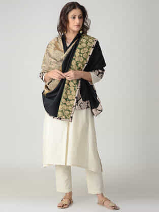 Beige-Black Hand-painted Kalamkari Woolen Reversible Shawl with Zari