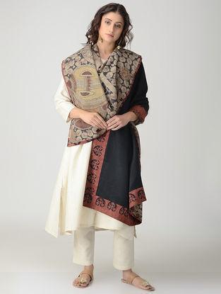 Beige-Black Hand-painted Kalamkari Woolen Reversible Shawl
