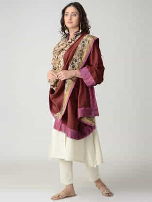 Beige-Maroon Hand-painted Kalamkari Woolen Reversible Shawl