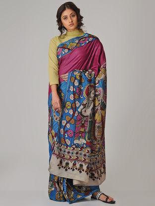 Blue-Pink Hand-painted Kalamkari Cotton Saree