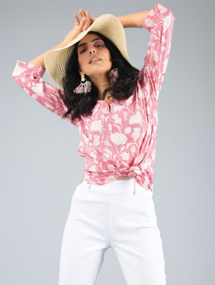 White-Pink Printed Cotton Top