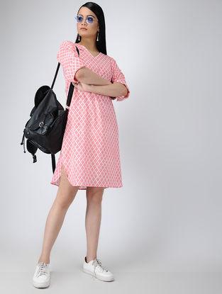 Pink-Ivory Printed Cotton Tunic